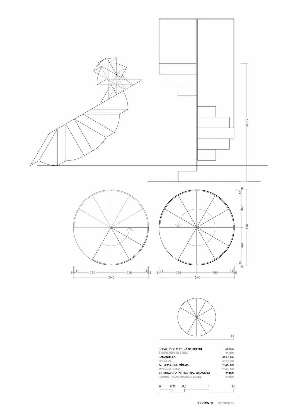 Escalera en espiral hugo momp architecture for Spiral staircase plan